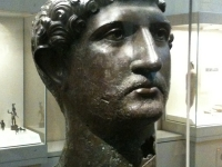 Bronze head of a life-size statue of the Emperer Hadrian