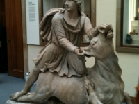 Marble statue of Mitras slaying a bull, Roman 2nd century.