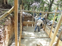 Some of the work as the water project was in progress - building the tank