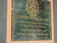 Dedication plaque for computer lab provided to a primary/secondary school by Rotary Clubs in Chiquimula, Guatemala and Fort Collins & Loveland, Colorado