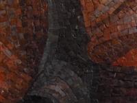 Close up of mosaic portrait to show detail