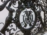 Close up of wrought iron balcony