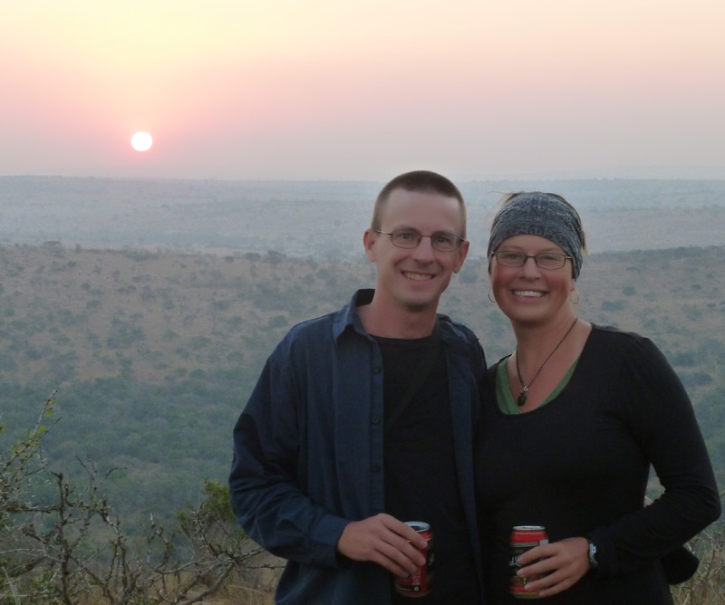 """Enjoying a """"sun-downer"""" while on safari in South Africa."""