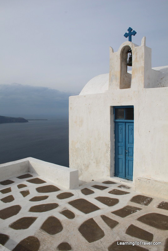 cycladic church in santorini greece
