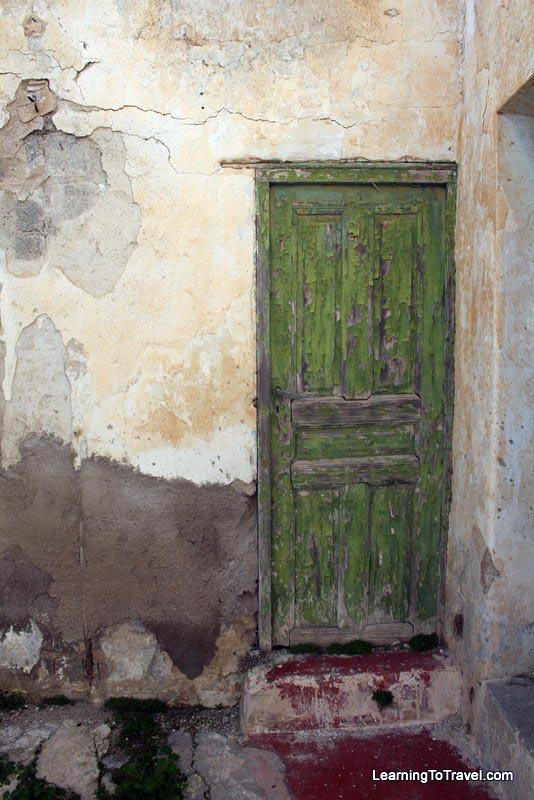 old door in santorini greece