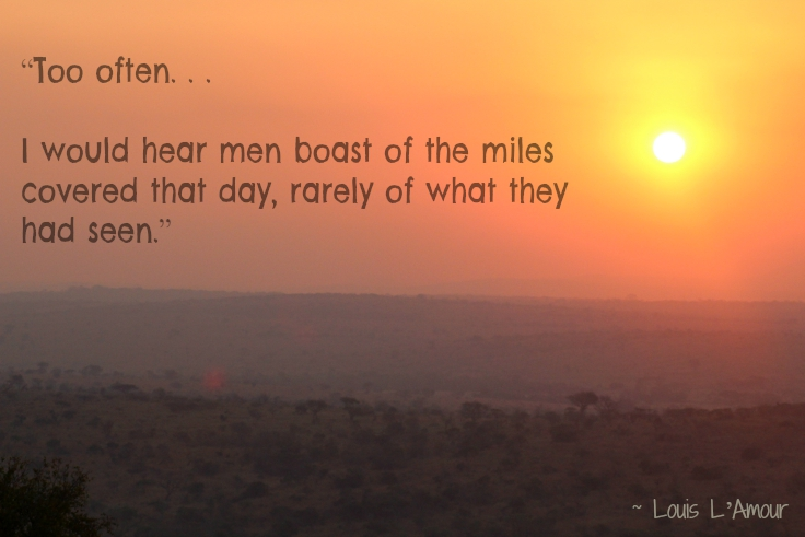 """Too often. . .I would hear men boast of the miles covered that day, rarely of what they had seen."" – Louis L'Amour"