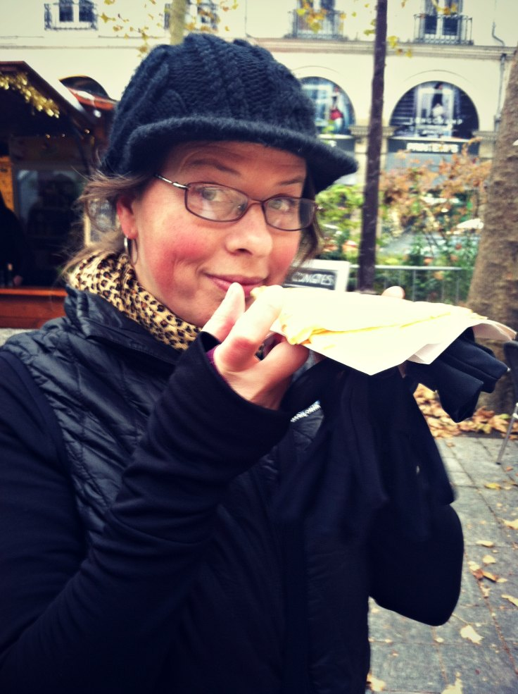 joyce dickens eating a crepe in tours france