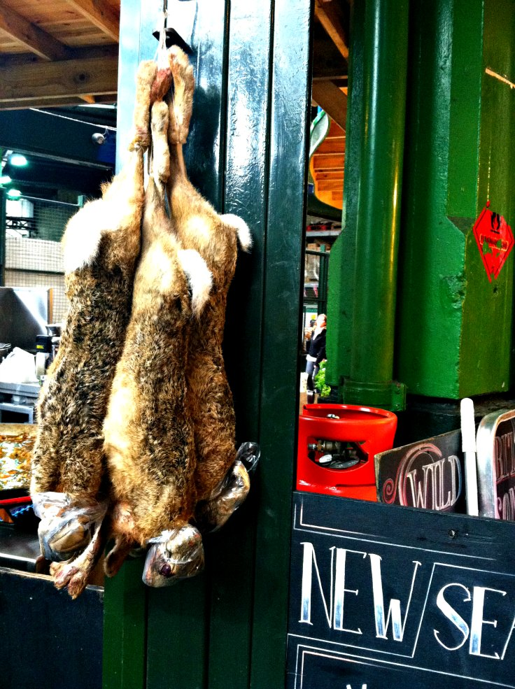 rabbits hanging at london market