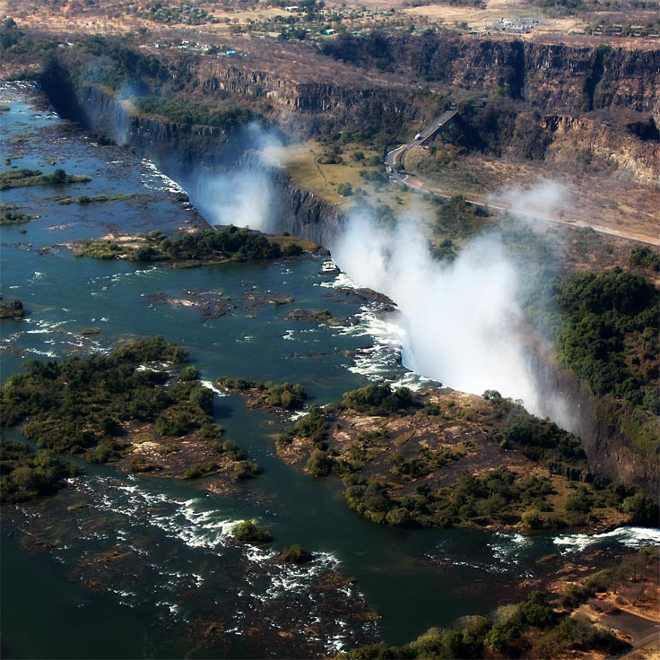 birds eye view of victoria falls