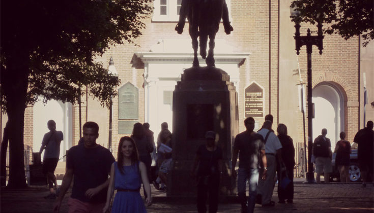 Paul Revere Statue Outside Of The Old North Church